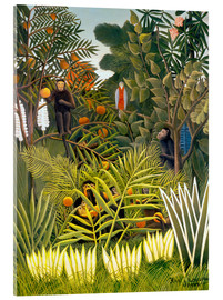 Acrylic print  Exotic landscape with monkeys and a parrot - Henri Rousseau