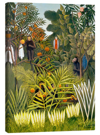 Canvas print  Exotic landscape with monkeys and a parrot - Henri Rousseau