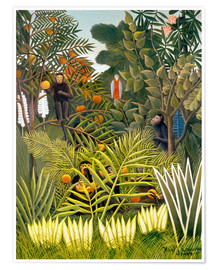 Premium poster  Exotic landscape with monkeys and a parrot - Henri Rousseau