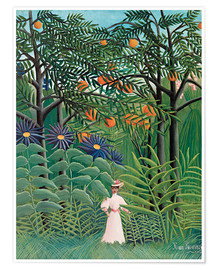 Premium poster  Woman in an exotic forest - Henri Rousseau