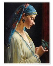 Premium poster Young woman with bird