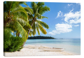Canvas print  Beach with palm trees and turquoise ocean in Tahiti - Jan Christopher Becke