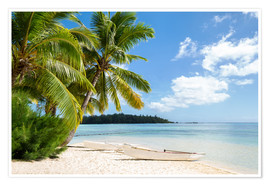 Premium poster  Beach with palm trees and turquoise ocean in Tahiti - Jan Christopher Becke
