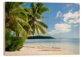 Wood print  Beach with palm trees and turquoise ocean in Tahiti - Jan Christopher Becke