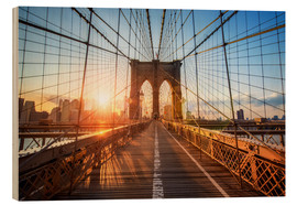 Wood print  Brooklyn Bridge at sunrise, New York - Jan Christopher Becke
