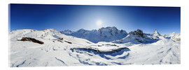 Acrylic print  360 degree mountain panorama from Riffelberg above Zermatt with Monte Rosa and Matterhorn in Winter - Peter Wey