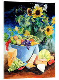 Acrylic print  Still life with sunflowers, fruits and cheese - Gerhard Kraus