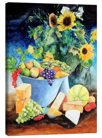 Canvas print  Still life with sunflowers, fruits and cheese - Gerhard Kraus