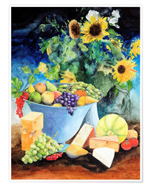 Premium poster  Still life with sunflowers, fruits and cheese - Gerhard Kraus