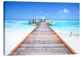 Canvas print  Pier to tropical blue sea, Maldives - Matteo Colombo