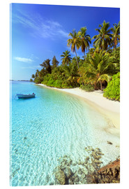 Acrylic print  Tropical beach with a boat, Maldives - Matteo Colombo