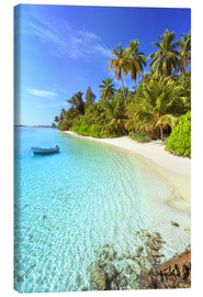 Canvas print  Tropical beach with a boat, Maldives - Matteo Colombo