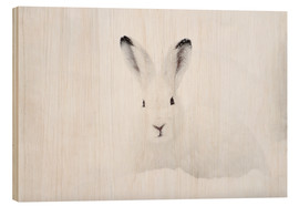 Wood print  Mountain hare in winter - Peter Wey