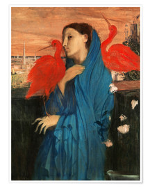 Premium poster Young Woman with Ibis