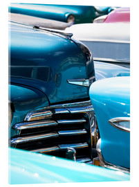 Acrylic print  Vintage American cars parked on a street in Havana Centro, Havana, Cuba, West Indies, Central Americ - Lee Frost