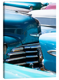 Canvas print  Vintage American cars parked on a street in Havana Centro, Havana, Cuba, West Indies, Central Americ - Lee Frost