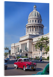 Acrylic print  Traditonal old American cars passing the Capitolio building, Havana, Cuba - Martin Child