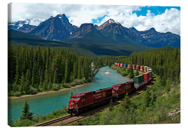 Canvas print  Morants bend with railroad and Bow River - Hans-Peter Merten