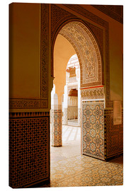 Canvas print  Large patio columns with azulejos decor, Islamo-Andalucian art, Marrakech Museum, Marrakech, Morocco - Guy Thouvenin