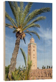 Wood print  Minaret of the Koutoubia Mosque, UNESCO World Heritage Site, Marrakech, Morocco, North Africa, Afric - Nico Tondini