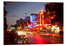Acrylic print  Ocean Drive, South Beach, Art Deco district, Miami Beach, Miami, Florida, United States of America, - Angelo Cavalli