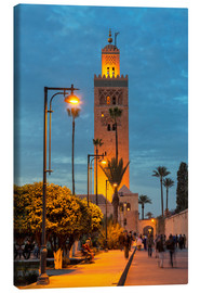 Canvas print  The Minaret of Koutoubia Mosque illuminated at night, UNESCO World Heritage Site, Marrakech, Morocco - Martin Child