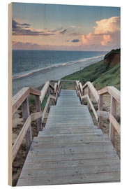 Wood print  Stairs down to the beach, Sylt - Markus Lange