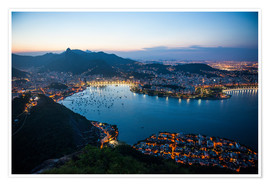 Premium poster  View from the Sugarloaf at sunset, Rio de Janeiro, Brazil, South America - Michael Runkel