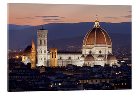 Acrylic print  Duomo at night from Piazza Michelangelo, Florence, UNESCO World Heritage Site, Tuscany, Italy, Europ - Stuart Black