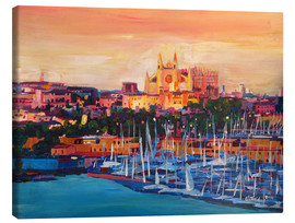 Canvas print  Spain Balearic Island Palma de Mallorca with Harbour and Cathedral - M. Bleichner