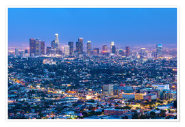 Premium poster  Cityscape of the Los Angeles skyline at dusk, Los Angeles, California, United States of America, Nor - Chris Hepburn