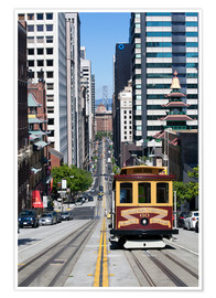 Premium poster  Cable car crossing California Street - Gavin Hellier