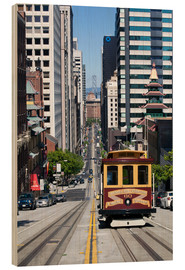 Wood print  Cable car crossing California Street - Gavin Hellier