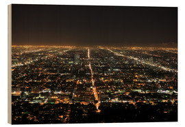 Wood print  Los Angeles at night - Wendy Connett