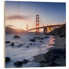 Wood print  San Francisco Golden Gate Bridge - Jan Christopher Becke