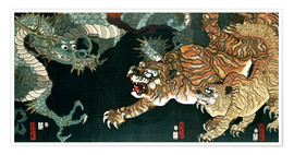 Premium poster  A dragon and two tigers - Utagawa Sadahide