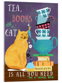 Acrylic print  Tea, books and a cat - Elisandra Sevenstar