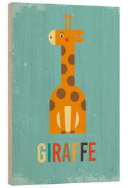 Wood print  ABC giraffe - Petit Griffin