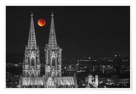 Premium poster  Blood Red Moon Cologne Cathedral - rclassen