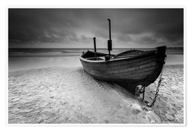 Premium poster Fishing boat on the beach monochrome