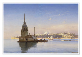 Premium poster  The Maiden's Tower (Maiden Tower) with Istanbul in the background - Carl Neumann