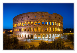Premium poster  Colosseum in Rome at night - Jan Christopher Becke