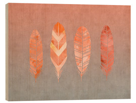 Wood print  Feathers - Andrea Haase