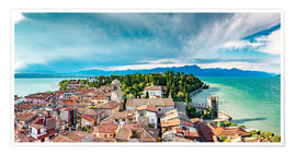 Premium poster Sirmione in Italy, with Lake Garda