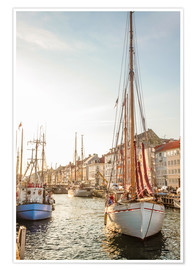 Premium poster  Old sailing boat in evening light in Nyhavn in Copenhagen. Denmark - Christian Müringer