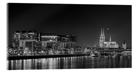 Acrylic print  Cologne night Skyline black / white - rclassen