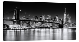 Canvas print  New York City Skyline with Brooklyn Bridge (Monochrome) - Sascha Kilmer