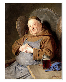 Premium poster  Sitting monk with tankards - Eduard Grützner