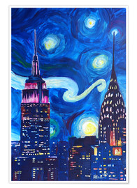 Premium poster  Starry Night, in New York - Van Gogh inspirations in Manhattan - M. Bleichner