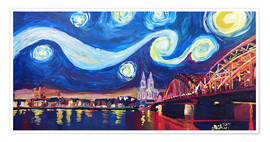 Premium poster  Starry Night in Cologne - Van Gogh inspirations on Rhine with Cathedral and Hohenzollern Bridge - M. Bleichner